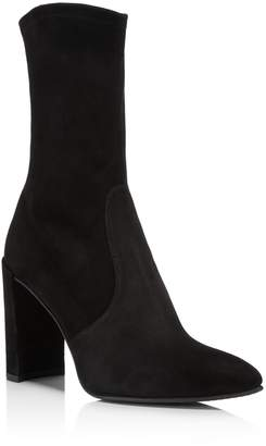 Stuart Weitzman Women's Clinger Stretch Suede Pointed Toe Booties
