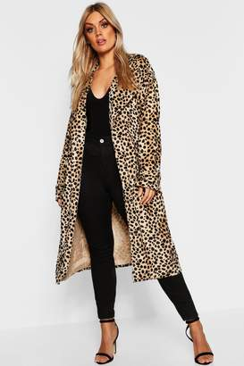 boohoo Plus Leopard Faux Fur Trench Coat
