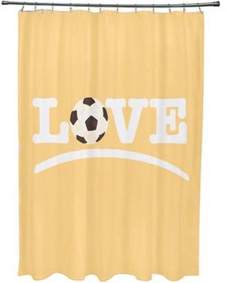 Simply Daisy Love Soccer, Word Print Shower Curtain