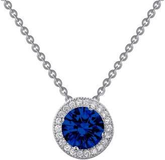 Lafonn Micro Pave CZ & Blue Lab-Grown Sapphire Round Pendant Necklace