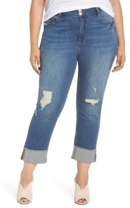 Seven7 Distressed Slim Raw Hem Cuffed Jeans