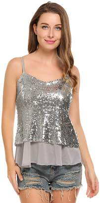 Meaneor Womens Casual Patchwork Loose Glitter Sequins Vest Camis Tanks Tops Tees