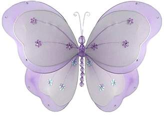 """Chloé The Butterfly Grove Hanging nylon butterfly craft nursery bedroom girls room ceiling wall decor, wedding birthday party baby bridal shower decorations Butterfly Room Decor - 13"""" purple"""