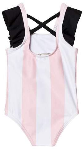 Livly Pink Vertical Stripes Ruffled Sleeve One Piece