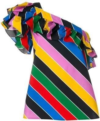 Philosophy di Lorenzo Serafini one-shoulder striped ruffled blouse
