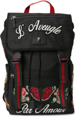 Gucci Backpack L Aveugle Par Amour Embroidered Web Strap Black