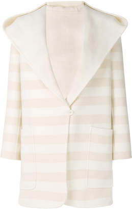 Max Mara striped hooded cardi-coat