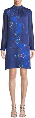 Elie Tahari Malaysia Floral-Print Long-Sleeve Silk Dress