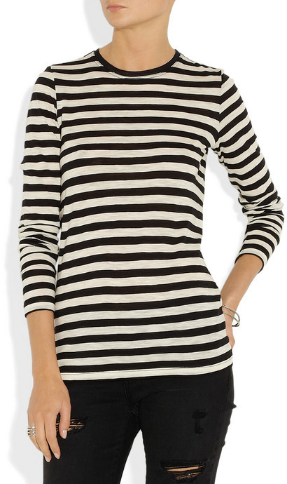 Proenza Schouler Striped slub-cotton jersey top
