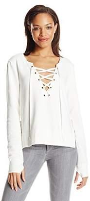 Pam & Gela Women's Side Slit Lace up Sweatshirt