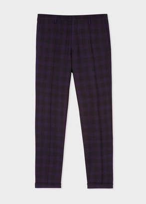 Paul Smith Men's Slim-Fit Purple And Black Jacquard Check Trouser