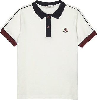 Moncler Striped sleeve cotton polo shirt 4-14 years $89 thestylecure.com