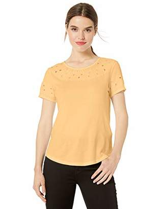 Lucky Brand Women's Embroidered Cut-Out TOP,S