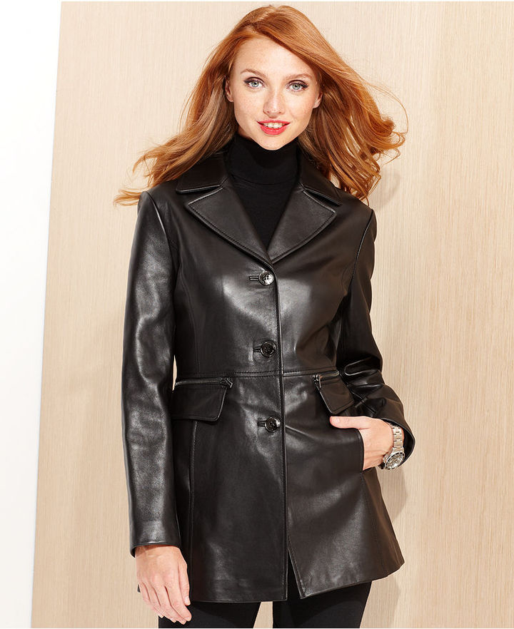 Kenneth Cole Reaction Coat, Notched-Collar Leather