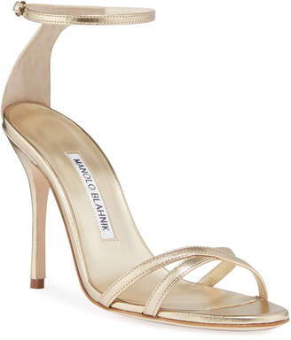 Manolo Blahnik Paloma Metallic Strappy Sandals