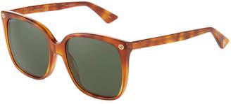 Gucci Round Havana Acetate Sunglasses