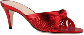 Gucci Crawford Mid-Heel Metallic Leather Sandals