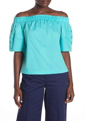 Laundry by Shelli Segal Off-the-Shoulder Button Sleeve Top