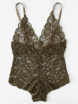 e8c847c63e Shein Scallop Trim Cross Back Lace Teddy Bodysuit