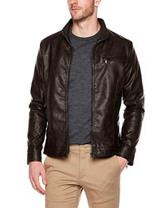 Moto Trimthread Men's Vintage Stand Collar Slim Zip-Front Faux Leather Biker Jacket (