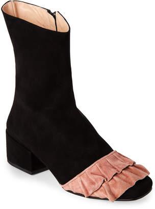 Racine Carree Black & Pink Volant Suede Block Heel Booties