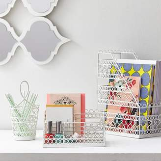 Pottery Barn Teen Wire Scallop Desk Accessories, Set Of 3 White