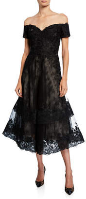 Rickie Freeman For Teri Jon Off-the-Shoulder Sweetheart Short-Sleeve Lace Overlay Illusion Dress