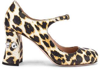 Miu Miu Jeweled Mary Jane Platform Heels in Leopard | FWRD