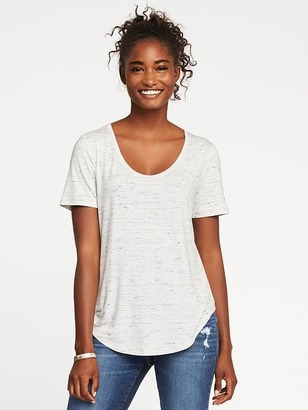 Luxe Curved-Hem Scoop-Neck Tee for Women $16.99 thestylecure.com
