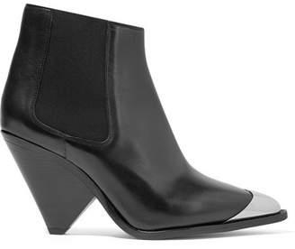 Isabel Marant Lemsey Metal-trimmed Leather Ankle Boots - Black