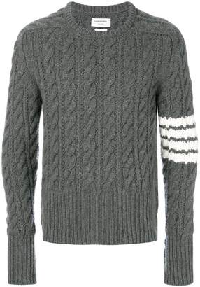 ab4218a499 Thom Browne 4-Bar Chunky Cable Cashmere Pullover