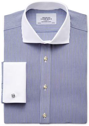 Charles Tyrwhitt Slim Fit Spread Collar Non-Iron Bengal Stripe Navy Winchester Cotton Dress Shirt Single Cuff Size 16.5/36