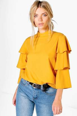 boohoo Cara Tiered Sleeve High Neck Blouse $26 thestylecure.com