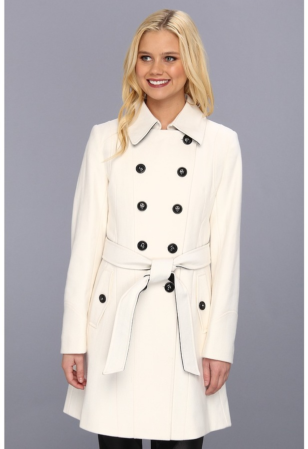 DKNY Color Block Trench 14200M-Y3 (Winter White) - Apparel