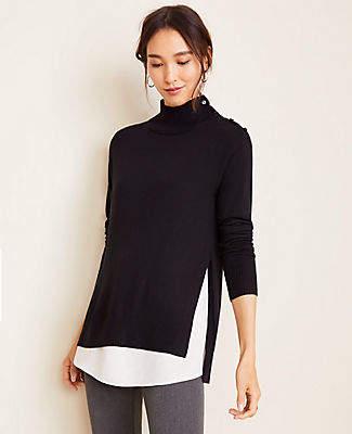 Ann Taylor Mixed Media Mock Neck Sweater