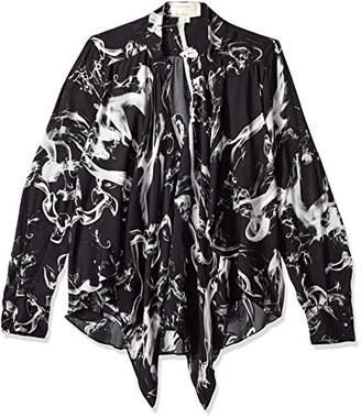 Nicole Miller Women's Smoke Printed Silk Blouse W/Option to Tie