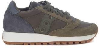 Saucony Jazz In Grey Anthracite And Dark Green Suede And Fabric Sneaker