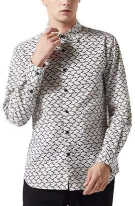 Unique Bargains Men Button Down Long Sleeve Floral Plaid Prints Dress Shirts