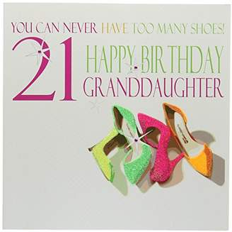 WHITE COTTON CARDS Neon Shoes You Can Never Have Too many Shoes! 21 Happy Birthday Granddaughter Handmade 21st Birthday Card, White, Large