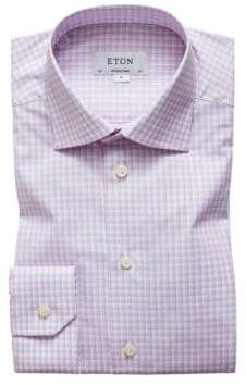 Eton Contemporary Fit Pink & Blue Plaid Dress Shirt