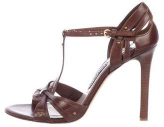 Tom Ford Leather Peep-Toe Sandals