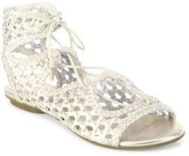 Joie Fannie Woven Metallic Leather Lace-Up Sandals
