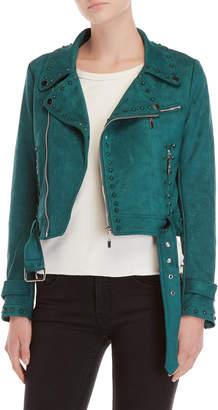 Equipment Love Token Emerald Studded Moto Jacket