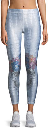Terez Long Rhinestone-Denim Print Performance Leggings
