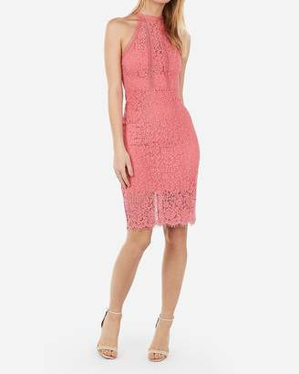 5ebe1529 Express High Neck Lace Sheath Dress