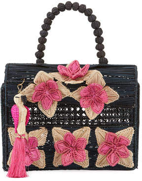 Mercedes Salazar Iraca Palm Threaded Fabric Top-Handle Bag
