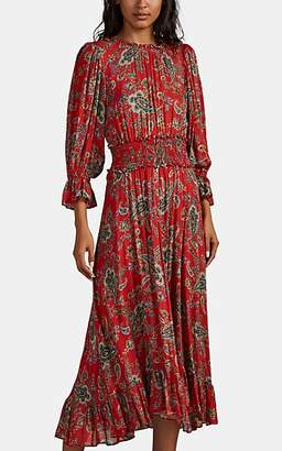 Icons Objects of Devotion Women's Peasant Ruffle-Trimmed Paisley Dress - Red