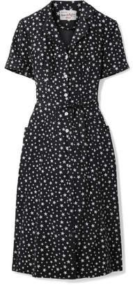 HVN - Maria Metallic Printed Silk Crepe De Chine Dress - Black