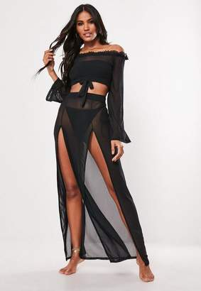 Missguided Black Mesh Side Split Maxi Skirt