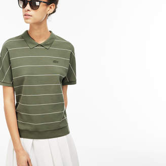 Lacoste Women's Finely Striped Honeycomb Polo